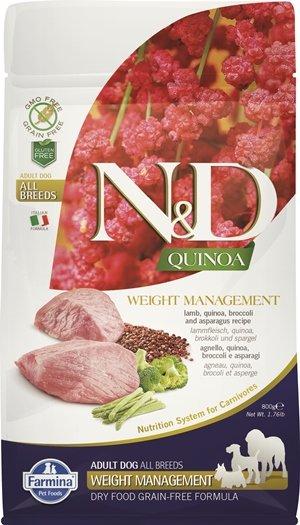 N&D QUINOA Weight Management с агнешно месо - кучета в зряла възраст от всички породи